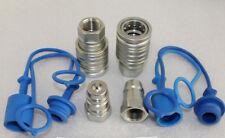"""2 x Hydraulik Kupplung 1/2"""" IG Stecker + Muffe 1/2 Zoll BG3 SVK mit Schutz blau"""