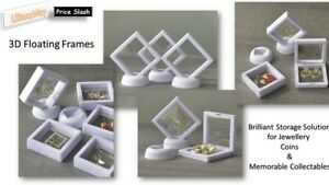 6x 3D Coin Jewellery/Coin/Memorables Display Frame & Stand White Floating View