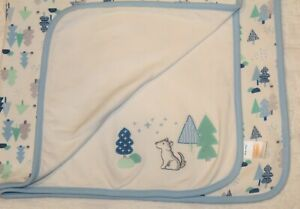 GYMBOREE BABY BLANKET Wolf Forest Trees lovey 2016
