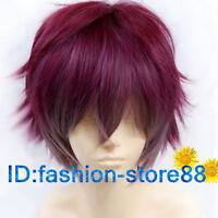 Diabolik lovers Sakamaki Ayato wine red mix short cosplay party wig/Free wig cap
