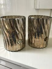 "PAIR OF MERCURY GLASS SWIRL TEA LIGHT / SMALL PILLAR CANDLE HOLDERS ""PARLANE""#GB"