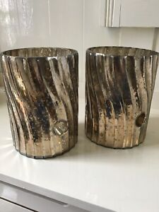 "PAIR OF MERCURY GLASS SWIRL TEA LIGHT / SMALL PILLAR CANDLE HOLDERS ""PARLANE""#GB"