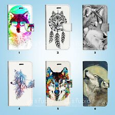 Wolf Flip Wallet Case Cover Samsung Galaxy S3 4 5 6 7 8 Edge Note Plus 067