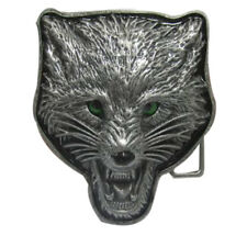 3D METAL WOLF PIERCING GREEN  ENAMEL EYES BELT BUCKLE FIT SNAP BELT