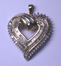 GOLD VERMEIL STERLING SILVER 2 CARAT TW DIAMOND HEART PENDANT FOR NECKLACE