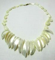 Vintage White Mother of Pearl Shell Necklace MOP Boho Hippie Beach 19 Inches