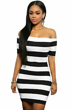 Abito cono aperto nudo scollo aderente fascia Mini Striped Bodycon Dress L