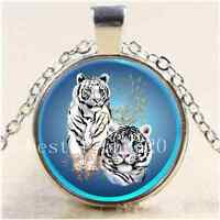 White Tigers Photo Cabochon Glass Tibet Silver Chain Pendant  Necklace