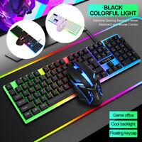 Rainbow Backlit LED Mechanical Feel USB Wired Gaming Keyboard & Mouse Combo Set