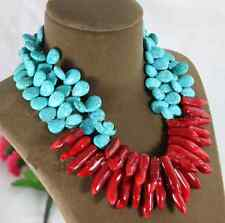 Exaggerate Choker Necklace Turquoise Water-drop Natural Red Coral Branch Woman