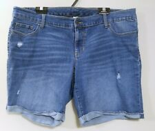 Old Navy Plus Women's Size 20 Denim Distressed Stretch Blue Jean Shorts