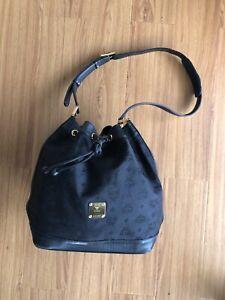 Vintage Mcm Black Large Nylon Bucket Bag