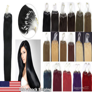 Loop Micro Ring Tip Remy 100% Real Human Hair Extensions Silicone Micro Beads US