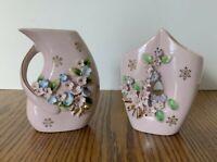 2 Vintage Pink Floral Bud Vases Applied Floral Gold Trim Decorative Collectable