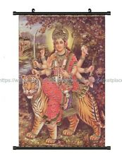Durga and the Tiger wall scroll cloth poster textile wall decor