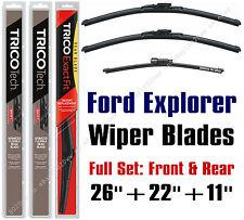 """Ford Explorer 2011-2019 Wipers 3-Pack Full Set 26""""+22""""+11"""" - 19260/19220/11G"""