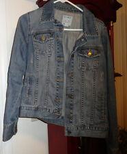 L Girls Old Navy ON Blue Jean Jacket Denim Distressed Trucker Cotton Adj Waist