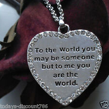 "2 Sided Worded Love Heart Necklace 20"" Chain Valentines Day Unusual Gift For Her"