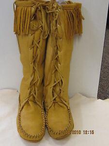 leather deerskin boot moccasins mountain  men size 10  handmade