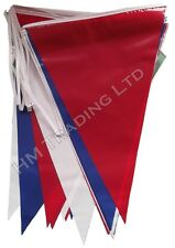 Red Blue White 36 Flags 10 M Long Bunting PVC Banner Double Sided Party Outdoor