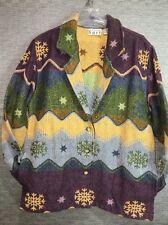 Keren Hart  Jacket  100% Cotton Purple Blue Green Women's M 8-10