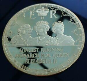 Oversized Gold Plated Medallion Longest Reigning Monarch H.M. Queen Elizabeth II