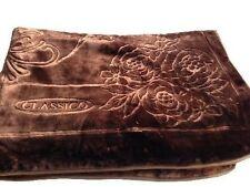 Licensed Solaron Classic Brown Korean Mink Plush Embossed King Size Blanket