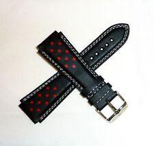 TechnoMarine Genuine Leather Watch Strap 20MM Black w/ Red Dots - 7616 NEW