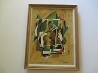VINTAGE OIL PAINTING ABSTRACT CUBIST CUBISM MUSICAL MODERNISM SIGNED MYSTERY