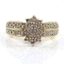 10K Yellow Gold Natural Diamond Cluster Ring Size 8.25
