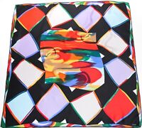 LOREDANO Silk Scarf - Vintage Abstract Art- Diamond Harlequin - LARGE