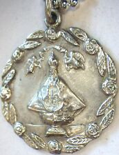 """⭐ ANTIQUE CATHOLIC STERLING PENDANT MEDAL ✞ ASSUMPTION VIRGIN MARY ☧ 18"""" CHAIN"""
