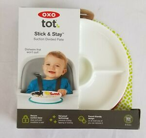 OXO Tot Stick & Stay Suction Bowl Teal New Toddler Snack Tray Dish