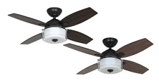 """Hunter Central Park Aged Steel Ceiling Fan with Light and Wall Control 107cm 42"""""""