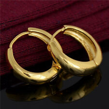 Fashion Classic Jewelry Gift 18K Gold Plated Smooth Circle Hoop Earrings 1 pair