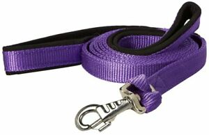 """Nylon Padded Double Handle Dog Leash Warranted Replaceable Snap 1"""" X 4'"""