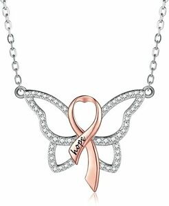 Sterling Silver Breast Cancer Survivor CZ Butterfly Pink Ribbon Pendant Necklace