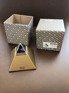 Vintage Seiko QEK101K Pyramid Talking Alarm Clock with Original Box NEW
