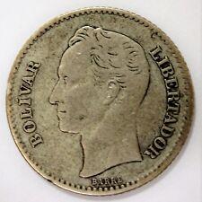 """Bolivar Libertador """"barre"""" Venezuela 1921 argent 835"""