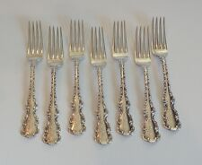 """SET/7 WHITING MFG. CO. """"LOUIS XV"""" STERLING SILVER 6 7/8"""" LUNCHEON/PLACE FORK"""