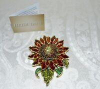"New $200 HEIDI DAUS ""Divine Miss Daisy"" Massive Swarovski Crystal Pin Brooch"