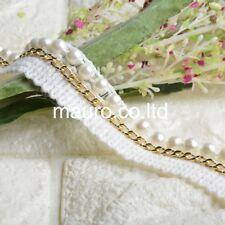 1 Yards White Lace Trim Golden Metal Chain Beaded Ribbon Pearls DIY Bag Bracelet