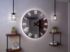Hand Made Roco Verre Illuminated Roman Mirror 85cm/50cm Wall Clock