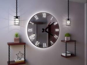 Hand Made Roco Verre Illuminated Roman Mirror Wall Clock