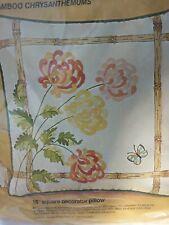 Bucilla Needlecraft Crewel Embroidery Pillow Kit Bamboo Mums Flowers Floral New