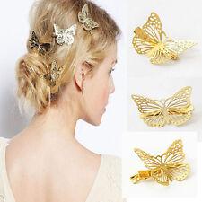 1pc New Boho Golden Tone Hollow Butterfly shape Hair Cuff Barrette Clip Hairpin