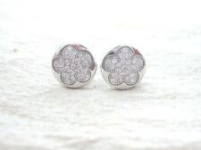 """925 STERLING SILVER Micro Setting """"Cz 9mm Flower in Round"""" Studs Earrings - GIRL"""