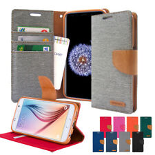Canvas Diary Kickstand Slim Flip Leather Wallet Case Cover For Galaxy S10 Note