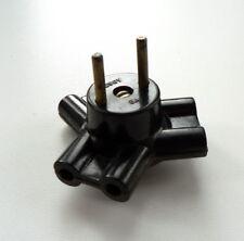 alter Dreifachstecker, T-Stück, schwarzer Bakelit, 30er Jahre