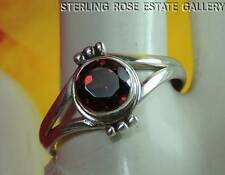GARNET Hand Crafted Sterling Silver 0.925 Estate Solitaire Cocktail RING sz 8.25